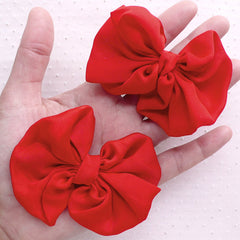 Red Chiffon Bow / Large Fabric Bows / Ribbon Applique (2pcs / 75mm x 65mm / Red) Headband Hairbow Making Wedding Party Card Decorarion B097