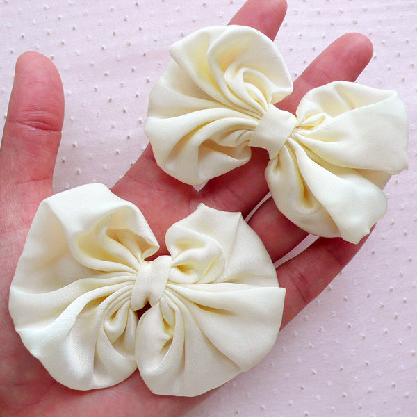 White Chiffon Bow / Big Bows / Fabric Ribbon Applique (2pcs / 75mm x 65mm / White) Newborn Baby Headband Hairbow DIY Wedding Decorarion B098