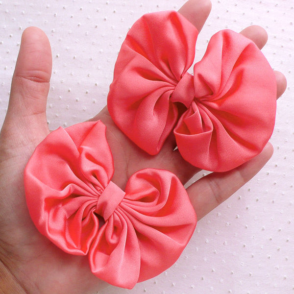 Chiffon Bows / Fabric Ribbon / Big Bow Applique (2pcs / 75mm x 65mm / Peach) Baby Girl Headband Making Hair Bow Accessories DIY Sewing B095
