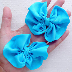 Big Chiffon Bows / Fabric Bow / Ribbon Applique (2pcs / 75mm x 65mm / Blue) Hair Bow Making Headband DIY Hair Accessory Embellishment B096