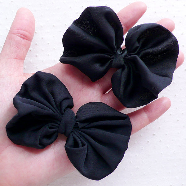 Black Chiffon Bows / Satin Ribbon / Fabric Bow Applique (2pcs / 75mm x 65mm / Black) Wedding Card Decoration Hair Bow Headbands Making B101