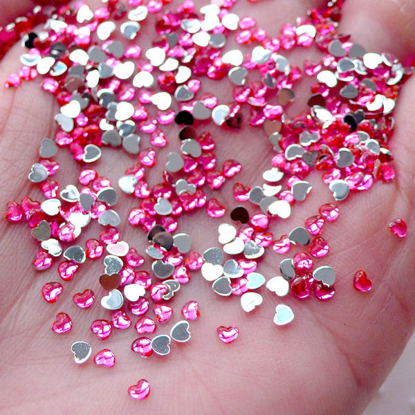 2.5mm Heart Rhinestones Acrylic Rhinestones (Pink) (Around 100pcs) Miniature Sweets Deco Nail Art Nail Decoration RHE058