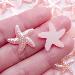 Starfish Star Fish Pearl / ABS Fake Pearls (Pink / 19mm / Around 25pcs) Sea Ocean Embellishment Scrapbook Beach Wedding Decoration PES85