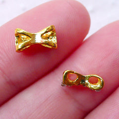 Tiny Bow Bowtie Cabochon (2pcs) (Gold w/ Clear Rhinestones) Cute Manicure Fake Miniature Cupcake Topper Nail Art Nail Decoration NAC010