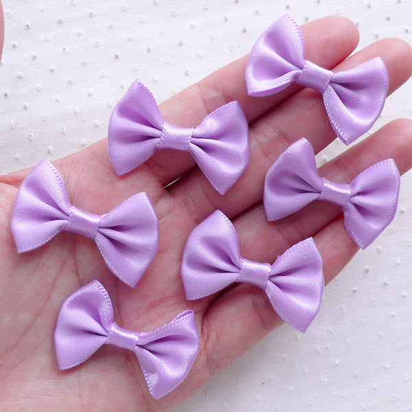 Purple Fabric Ribbon Bow Tie / Fairy Kei Satin Bows (6pcs / 35mm x 25mm / Light Purple) Hair Bows Headband Making Wedding Embellishment B109