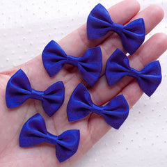 CLEARANCE Satin Ribbon Bows / Fabric Bow Ties (6pcs / 35mm x 25mm / Royal Blue) Decoden Wedding Party Decoration Favor Packaging Scrapbook Sewing B110