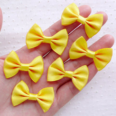 Yellow Fabric Bow Tie / Satin Ribbon Bow (6pcs / 35mm x 25mm / Yellow) Hair Bows Hairclip Embellishment Sewing Jewellery Party Supplies B112