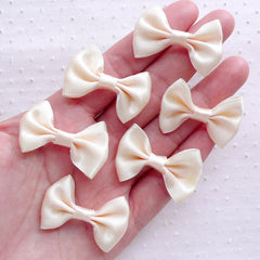 Satin Ribbon Bow Tie / Fabric Bows (6pcs / 35mm x 25mm / Cream) Baby Headband Hair Bows Findings Wedding Decor Favor Packaging Sewing B113