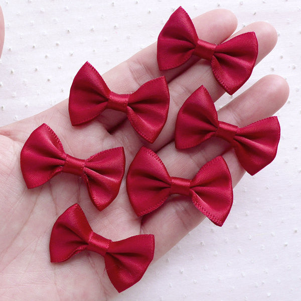 Fabric Ribbon Bow Tie / Satin Bows (6pcs / 35mm x 25mm / Wine Red) Hair Clip Headbands Jewelry Making Valentines Day Gift Decoration B115