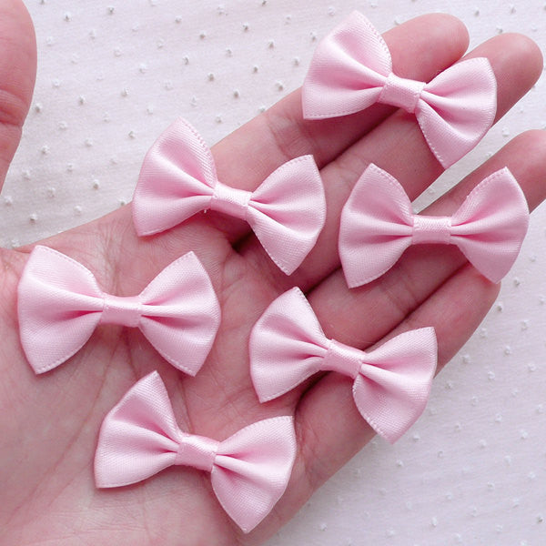 Satin Ribbon Bows / Fabric Bow Ties (6pcs / 35mm x 25mm / Light Pink) Fairy Kei Hair Accessory Wedding Baby Shower Party Decoration B119