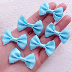 Blue Fabric Bows / Satin Ribbon Bow Ties (6pcs / 35mm x 25mm / Sky Blue) Decoden Headband Wedding Favor Decoration Sewing Embellishment B107