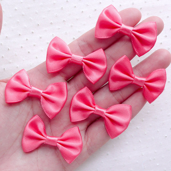 CLEARANCE Pink Fabric Bows / Satin Ribbon Bow Tie (6pcs / 35mm x 25mm / Coral Pink) Hair Bows Jewellery Findings Wedding Favor Decoration Sewing B108