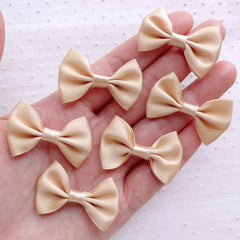 CLEARANCE Satin Ribbon Bowtie / Fabric Bows (6pcs / 35mm x 25mm / Sandy Beige) Hair Bows Headband DIY Jewelry Wedding Decoration Embellishment B117