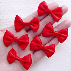 Red Satin Bows / Small Fabric Ribbon (6pcs / 35mm x 25mm / Red) Cute Baby Hair Clip Making Wedding Decoration Scrapbook Embellishment B118