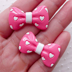 Pink Bow w/ Heart Cabochons (2pcs / 32mm x 18mm / Pink & White / Flatback) Cute Bowtie Phone Case Deco Embellishment Hair Clip Making CAB463