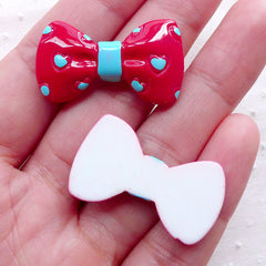 Red Bowtie Cabochons w/ Heart Pattern (2pcs / 32mm x 18mm / Red & Blue / Flatback) Kawaii Bows Cellphone Decoration Lolita Jewellery CAB464
