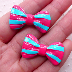 Kawaii Bowtie Cabochons w/ Stripe (2pcs / 31mm x 18mm / Pink & Blue / Flat Back) Cute Bows Cell Phone Deco Lolita Jewelry Making CAB465
