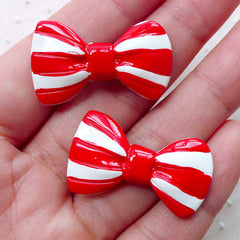 Bowtie Cabochons w/ Stripe (2pcs / 31mm x 18mm / Red & White / Flatback) Bow Tie Jewellery Scrapbook Kawaii Hair Accessory Making CAB466