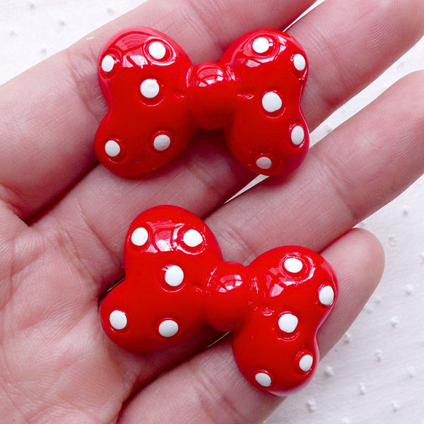 Cute Bow Cabochons w/ Polka Dot (2pcs / 32mm x 22mm / Red / Flatback) Kawaii Bowtie Ribbon Lolita Dekoden Whimsical Jewelry Scrapbook CAB469