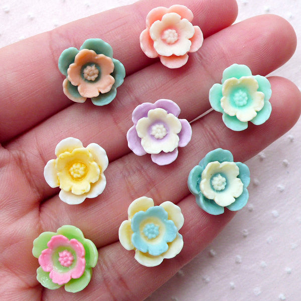 15 Mixed Resin Daisy Flower Cabochons Cute Decoden Craft Charms Flatbacks Pastel