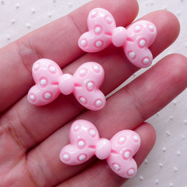 Cute Bowtie Cabochons / Polka Dot Bow Tie Cabochon (3pcs / 25mm x 15mm / Light Pink / Flat Back) Kawaii Case Deco Baby Hairpin Making CAB473