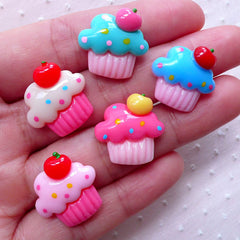 Assorted Cupcake Cabochons (5pcs / 18mm / Flatback) Miniature Sweets Deco Kawaii Dekoden Whimsical Jewellery Scrapbook Embellishment FCAB308