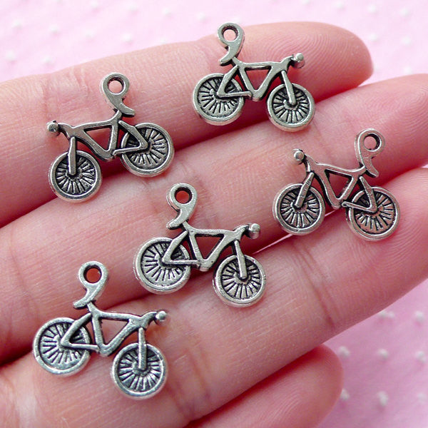 Bicycle Charms (5pcs) (20mm x 15mm / Tibetan Silver / 2 Sided) Kawaii Charms Pendant Bracelet Earrings Zipper Pull Bookmarks Keychain CHM519