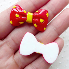 Bow Cabochons with Heart Pattern (2pcs / 32mm x 18mm / Red & Yellow / Flat Back) Bowtie Kawaii Decoden Kitsch Jewelry Scrapbooking CAB462