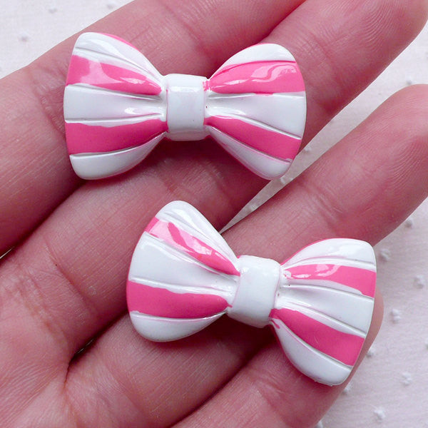 Kawaii Bow Cabochons w/ Stripe (2pcs / 31mm x 18mm / Pink & White / Flat Back) Bowtie Jewellery Lolita Kawaii Dekoden Cute Decoration CAB467