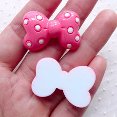 Polka Dot Bow Cabochons (2pcs / 32mm x 22mm / Pink / Flat Back) Cute Bowties Kawaii Ribbon Whimsical Dekoden Lolita Kitsch Jewellery CAB468