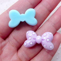 CLEARANCE Fairy Kei Bow Cabochons with Polka Dot / Small Bowtie Cabochon Mix (8pcs / 25mm x 15mm / Pastel) Kawaii Decora Dekoden Cute Ribbon CAB471