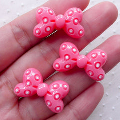 Polka Dot Bowtie Cabochons / Small Bow Cabochon (3pcs / 25mm x 15mm / Pink / Flatback) Kawaii Dekoden Cute Ribbon Hair Pin Making CAB472