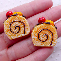 Kawaii Swiss Roll Cabochons (2pcs / 24mm x 26mm / Flat Back) Miniature Dessert Cake Whimsical Decoden Sweets Deco Cute Decoration FCAB307