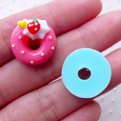Kawaii Donut Cabochon Mix (5pcs / 18mm / Flat Back) Assorted Miniature Doughnut Dollhouse Sweets Dekoden Whimsical Kitsch Jewelry FCAB310