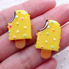 Miniature Ice Cream Bar Cabochons / Mango Popsicle (2pcs / 16mm x 26mm / Flatback / Yellow) Kawaii Sweets Embellishment Kitsch Deco FCAB312