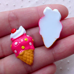Kawaii Cabochons / Strawberry Ice Cream Cabochon (2pcs / 16mm x 28mm / Flat Back / Dark Pink) Miniature Sweets Whimsical Decoration FCAB314