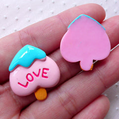Resin Cabochon / Ice Cream in Spade Shape (2pcs / 23mm x 25mm / Flatback / Pink) Kawaii Miniature Sweets Deco Whimsical Scrapbooking FCAB315