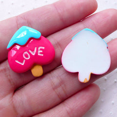 Decoden Ice Cream Cabochon in Spade Shape (2pcs / 23mm x 25mm / Flat Back / Dark Pink) Kawaii Phone Case Deco Whimsical Kitsch Cute FCAB316