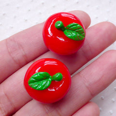 3D Apple Cabochons (2pcs / 20mm x 18mm / Red) Kawaii Phone Case Decoden Whimsical Jewellery Dust Plug Making Kitsch Embellishment FCAB317