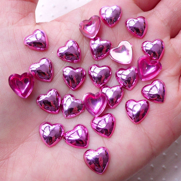 Pink Puffy Heart Acrylic Cabochons (25pcs / 10mm / Flat Back) Kawaii Decoden Phone Case Valentines Day Love Wedding Card Decoration CAB475