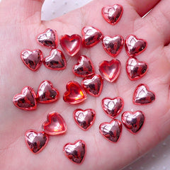 Red Puffy Heart Cabochons / Cute Tiny Love Cabs (25pcs / 10mm / Flatback) Wedding Party Valentines Day Decoration Kawaii Scrapbook CAB476
