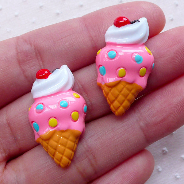 Cute Ice Cream Cabochons (2pcs / 16mm x 28mm / Flatback / Pink) Miniature Sweets Decoden Kawaii Embellishment Kitsch Decoration FCAB313