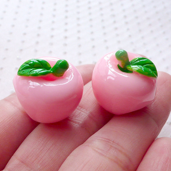 Apple Cabochon in 3D (2pcs / 20mm x 18mm / Pink) Kawaii Decoden Phone Case Kitsch Jewellery Dust Plug DIY Whimsical Embellishment FCAB318