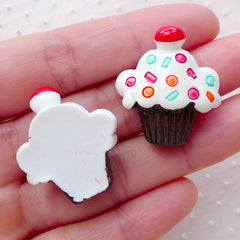 Kawaii Cupcake Decoden Cabochons (2pcs / 25mm x 28mm / Flat Back) Phone Case Decoration Whimsical Jewellery Sweets Embellishment FCAB319