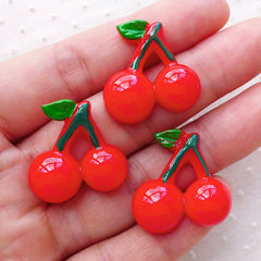 Kawaii Cherry Cabochons / Fruit Cabochon (3pcs / 24mm x 23mm / Flat Back) Decoden Phone Case Whimsical Embellishment Cute Decoration FCAB320