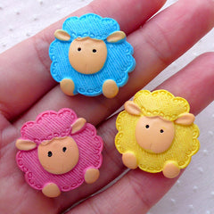 Lamb Cabochons / Sheep Cabochon Mix (3pcs / 25mm x 24mm / Flatback) Decoden Phone Case Baby Shower Decoration Animal Hair Pin Making CAB477