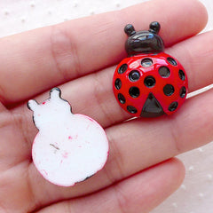 Ladybug Cabochon / Beetle Decoden Cabochons (2pcs / 20mm x 26mm / Flat Back) Kawaii Baby Shower Party Decoration Insect Ladybirds CAB478