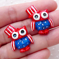 American Owl Cabochon / USA Decoden Cabochons (2pcs / 20mm x 26mm / Flat Back) Cute Baby Shower Decoration Patriotic Phone Case Deco CAB479