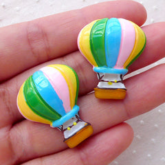 Decoden Cabochons / Hot Air Balloon Cabochon (2pcs / 24mm x 28mm / Flatback) Baby Shower Party Decor Vacation Travel Phone Case Deco CAB480