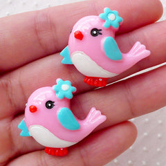 Cute Bird Cabochons / Animal Kawaii Cabochon (2pcs / 29mm x 25mm / Flatback) Baby Shower Party Decoration Whimsical Embellishment CAB488